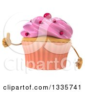 Clipart Of A 3d Pink Frosted Cupcake Character Giving A Thumb Up Royalty Free Illustration by Julos