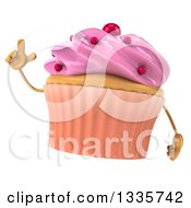 Clipart Of A 3d Pink Frosted Cupcake Character Holding Up A Finger Royalty Free Illustration by Julos