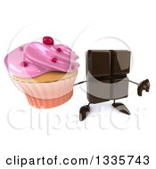 Clipart Of A 3d Chocolate Candy Bar Character Holding Up A Thumb Down And A Pink Frosted Cupcake Royalty Free Illustration by Julos