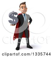 Clipart Of A 3d Super White Businessman Holding A Dollar Currency Symbol Royalty Free Illustration