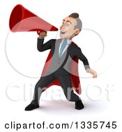 Clipart Of A 3d Super White Businessman Announcing To The Left With A Megaphone Royalty Free Illustration