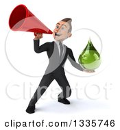 Clipart Of A 3d Happy Young White Businessman Holding A Green Medicine Tincture Droplet And Announcing With A Megaphone Royalty Free Illustration by Julos