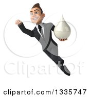 Clipart Of A 3d Happy Young White Businessman Flying And Holding A Milk Soap Or Shampoo Drop 2 Royalty Free Illustration