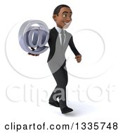 Clipart Of A 3d Young Black Businessman Holding An Email Arobase At Symbol And Walking Slightly To The Right Royalty Free Illustration