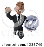 Clipart Of A 3d Young Black Businessman Holding An Email Arobase At Symbol And Flying Royalty Free Illustration