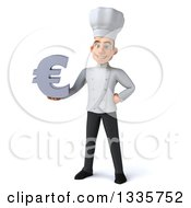 Clipart Of A 3d Young White Male Chef Holding A Euro Symbol Royalty Free Illustration