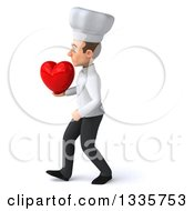 Clipart Of A 3d Young White Male Chef Holding A Heart And Walking To The Left Royalty Free Illustration