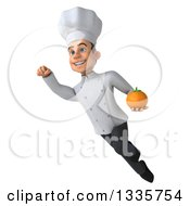 Clipart Of A 3d Young White Male Chef Flying And Holding A Navel Orange Royalty Free Illustration