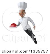 Clipart Of A 3d Young Black Male Chef Holding A Beef Steak And Flying Royalty Free Illustration