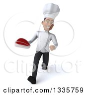 Clipart Of A 3d Young Black Male Chef Holding A Beef Steak And Speed Walking Royalty Free Illustration