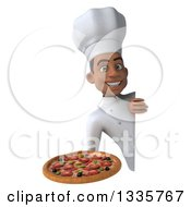 Clipart Of A 3d Young Black Male Chef Holding A Pizza Around A Sign Royalty Free Illustration