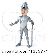 Clipart Of A 3d Caucasian Male Armored Knight Standing With A Sword And Presenting Royalty Free Vector Illustration