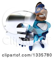 Clipart Of A 3d Buff Black Super Hero Man In A Blue Costume Holding Up A Euro Symbol Royalty Free Illustration by Julos