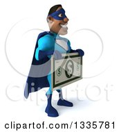 Clipart Of A 3d Buff Black Super Hero Man In A Blue Costume Facing Slightly Right Holding A Giant Dollar Bill Royalty Free Illustration by Julos