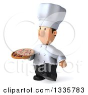 Clipart Of A 3d Short White Male Chef Holding A Pizza And Walking Slightly To The Left Royalty Free Illustration by Julos