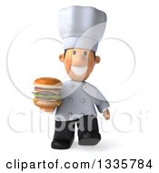 Clipart Of A 3d Short White Male Chef Holding A Double Cheeseburger And Walking Royalty Free Illustration by Julos