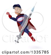 Clipart Of A 3d Young White Male Super Hero Mechanic In Red And Dark Blue Holding A Giant Vaccine Syringe And Flying 2 Royalty Free Illustration by Julos