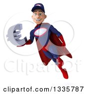 Clipart Of A 3d Young White Male Super Hero Mechanic In Red And Dark Blue Flying With A Euro Symbol Royalty Free Illustration by Julos