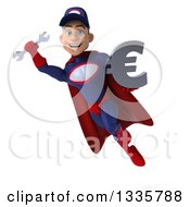 Clipart Of A 3d Young White Male Super Hero Mechanic In Red And Dark Blue Flying With A Wrench And Euro Symbol Royalty Free Illustration by Julos