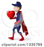 Clipart Of A 3d Young White Male Super Hero Mechanic In Red And Dark Blue Holding A Red Love Heart And Walking To The Left Royalty Free Illustration by Julos