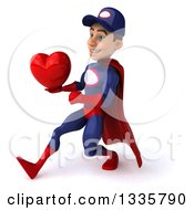 Clipart Of A 3d Young White Male Super Hero Mechanic In Red And Dark Blue Holding A Red Love Heart And Speed Walking To The Left Royalty Free Illustration by Julos