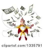 Clipart Of A 3d Muscular Male Yellow And Red Super Hero Looking Up Making It Rain Money Royalty Free Illustration