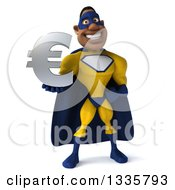 Clipart Of A 3d Muscular Black Male Super Hero In A Yellow And Blue Suit Holding A Euro Currency Symbol Royalty Free Illustration
