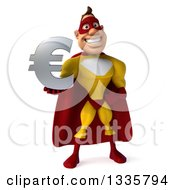 Clipart Of A 3d Muscular Male Yellow And Red Super Hero Holding A Euro Symbol Royalty Free Illustration