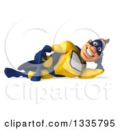 Clipart Of A 3d Muscular White Male Super Hero In A Yellow And Blue Suit Resting On His Side Royalty Free Illustration