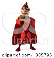 Clipart Of A 3d Buff White Red Super Hero Man Eating A Double Cheeseburger Royalty Free Illustration by Julos