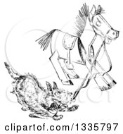 Clipart Of A Retro Black And White Terrier Dog Playing With A Wooden Toy Horse Royalty Free Vector Illustration