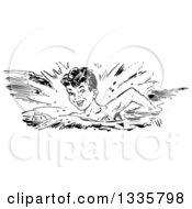 Retro Black And White Happy Boy Swimming In A Stroke Style