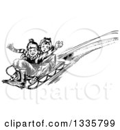 Clipart Of A Retro Black And White Boy And Girl Playing On A Winter Sled Royalty Free Vector Illustration
