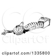 Clipart of a Retro Black and White Jack in the Box Clown Reaching to the Side - Royalty Free Vector Illustration by Picsburg #COLLC1335800-0181