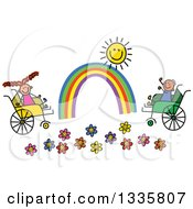Doodled Disabled Boy And Girl Playing By Flowers A Rainbow And Sun In Wheelchairs