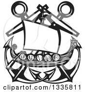 Clipart Of A Black And White Woodcut Viking Ship Over Crossed Nautical Anchors Royalty Free Vector Illustration