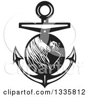 Clipart Of A Black And White Woodcut Planet Earth Over A Nautical Anchor Royalty Free Vector Illustration by xunantunich
