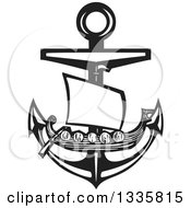Clipart Of A Black And White Woodcut Viking Ship Over A Nautical Anchor Royalty Free Vector Illustration
