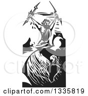 Clipart Of A Black And White Woodcut Greek God Zeus Holding Lightning Bolts Over Planet Earth Royalty Free Vector Illustration