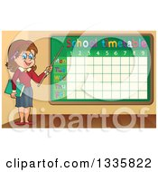Clipart Of A Cartoon Brunette White Female Teacher Holding A Pointer Stick To A Time Table Royalty Free Vector Illustration by visekart