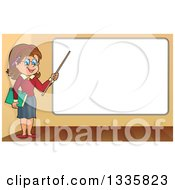 Clipart Of A Cartoon Brunette White Female Teacher Holding A Pointer Stick To A White Board Royalty Free Vector Illustration