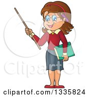 Clipart Of A Cartoon Brunette White Female Teacher Holding A Pointer Stick Royalty Free Vector Illustration