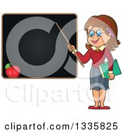 Clipart Of A Cartoon Brunette White Female Teacher Holding A Pointer Stick To A Black Board Royalty Free Vector Illustration
