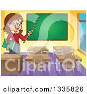 Clipart Of A Cartoon Brunette White Female Teacher Holding A Pointer Stick In A Class Room 2 Royalty Free Vector Illustration