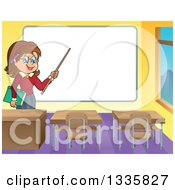Clipart Of A Cartoon Brunette White Female Teacher Holding A Pointer Stick To A White Board In A Class Room Royalty Free Vector Illustration
