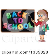 Clipart Of A Cartoon Brunette White Female Teacher Holding A Pointer Stick To A Back To School Black Board Royalty Free Vector Illustration