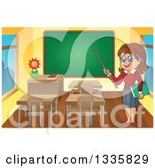 Clipart Of A Cartoon Brunette White Female Teacher Holding A Pointer Stick In A Class Room Royalty Free Vector Illustration