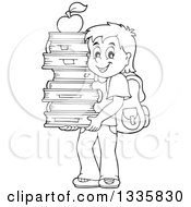 Clipart Of A Cartoon Black And White Happy School Boy Carrying An Apple On Top Of A Stack Of Books Royalty Free Vector Illustration