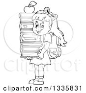 Clipart Of A Cartoon Black And White Happy School Girl Carrying An Apple On Top Of A Stack Of Books Royalty Free Vector Illustration