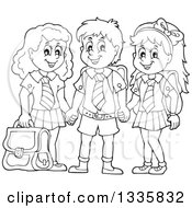 Clipart Of Cartoon Black And White Happy School Children Wearing Uniforms And Holding Hands Royalty Free Vector Illustration